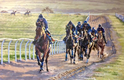 'Up the Gallops' Oil on board.