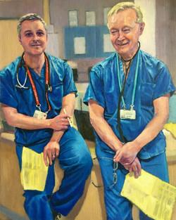 'Doctor Dan and Doctor Ed'. Oil.