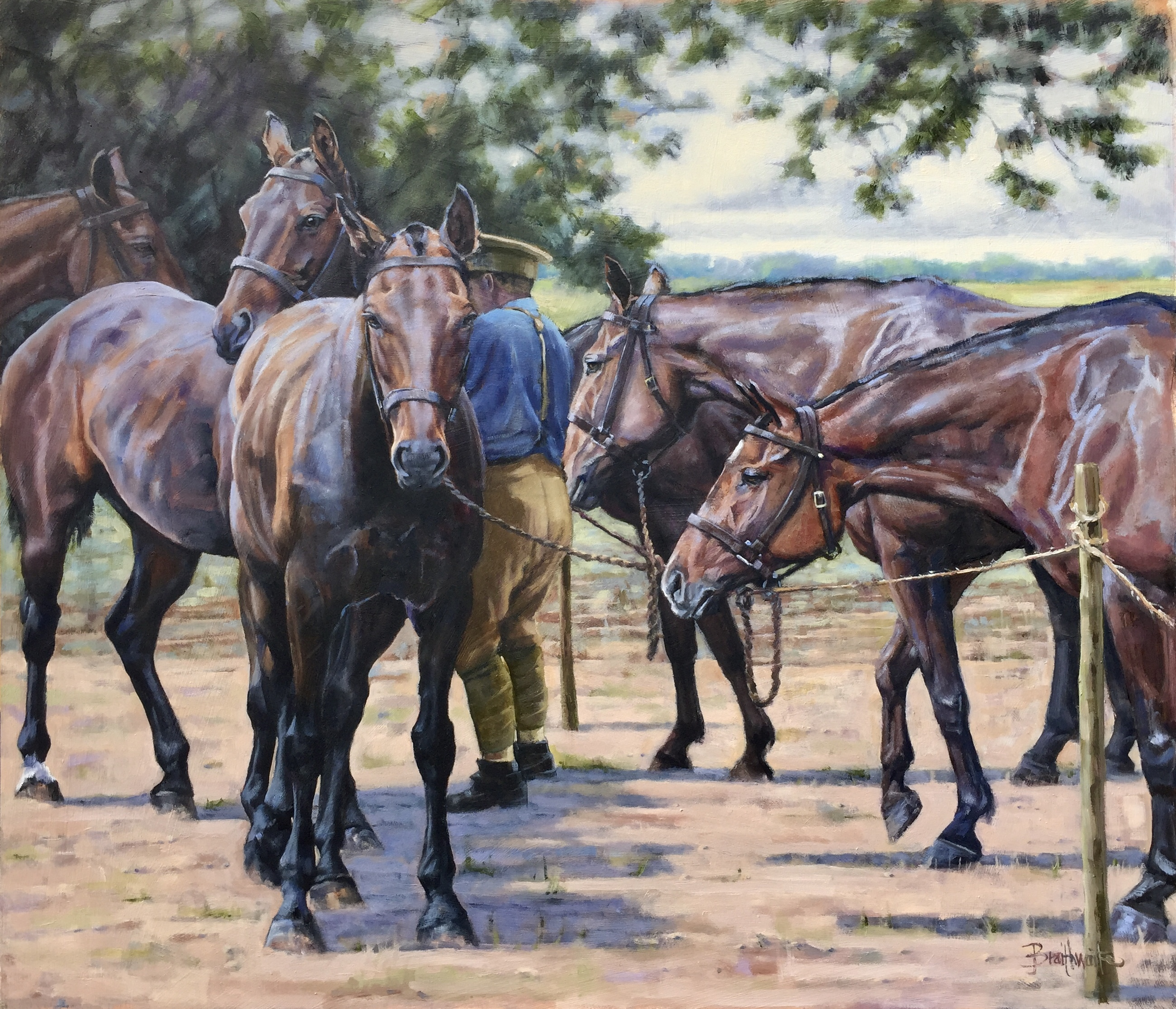 'Band of Brothers'. Oil on board
