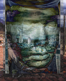 photo collage: masks and reflections in shaman journey by aritst ronda larue