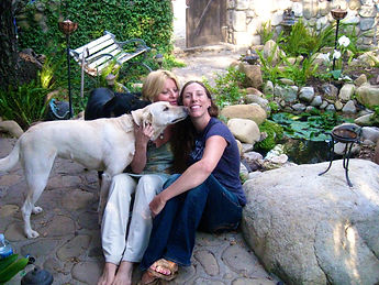 Ronda LaRue and her two soul dogs with a private spiritual retreat woman at Ojai Soul Arts in CA