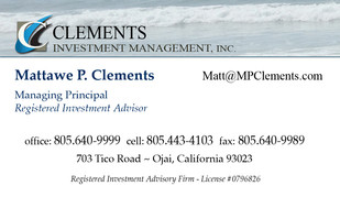Clements Investement Management Business Card Front