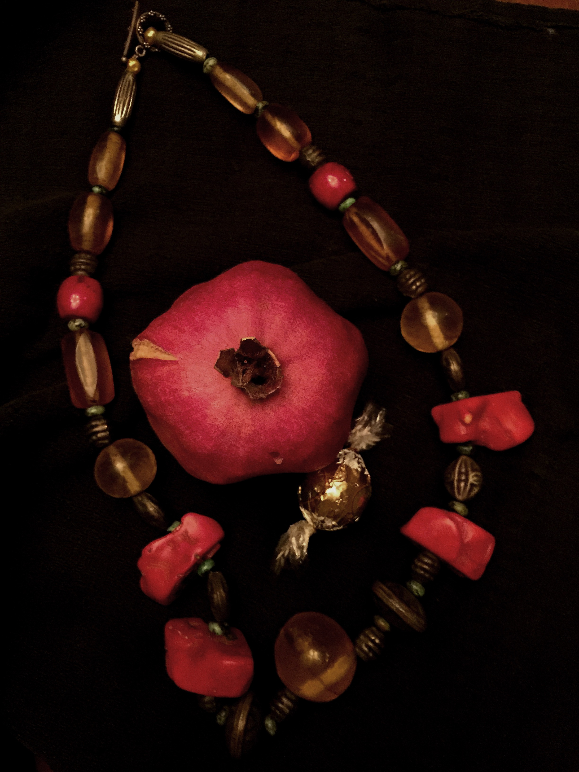 Ceremonial Pomegranate Coral Necklac