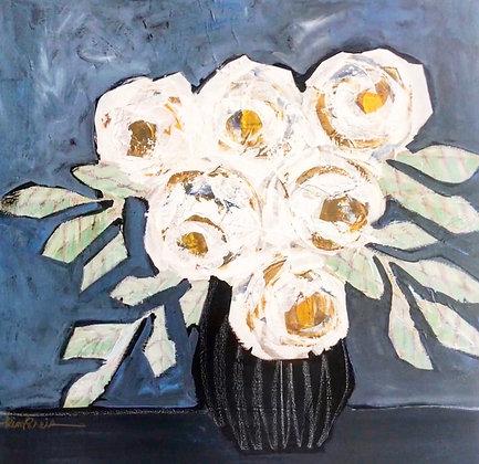 White Flowers Black Vase