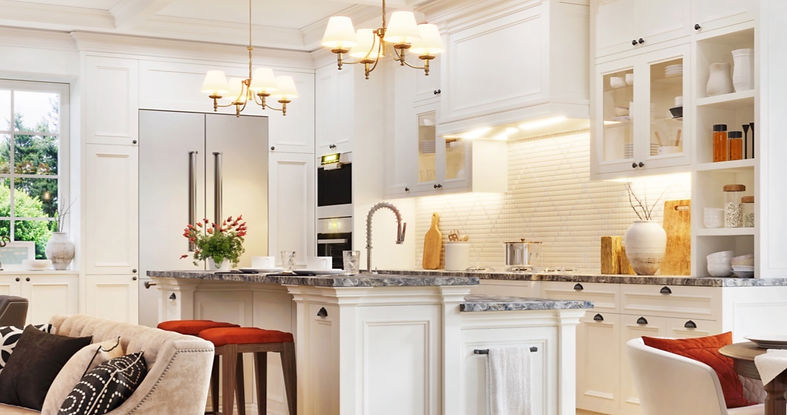 kitchen white gray counters