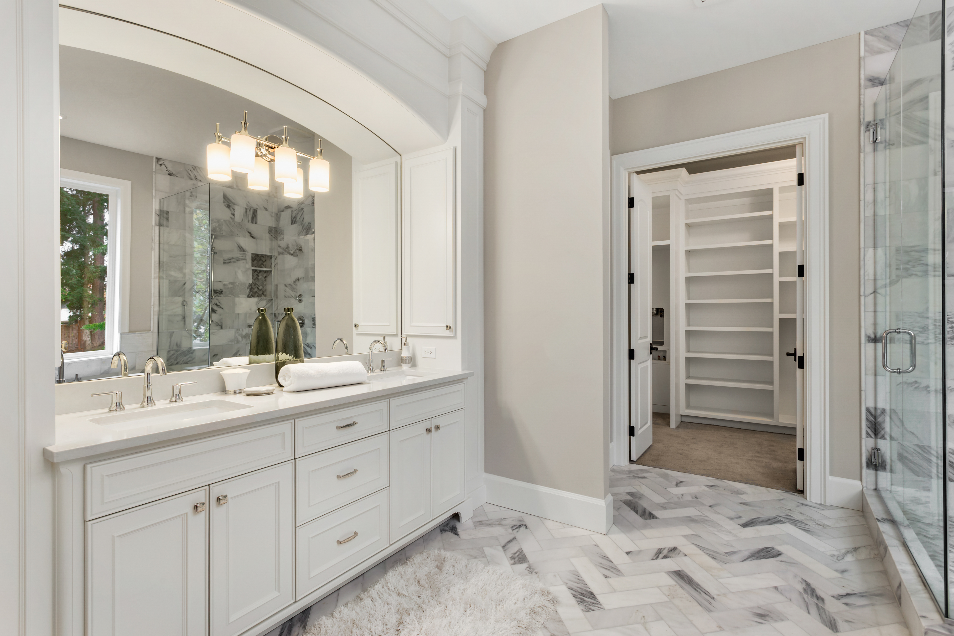 Master bath white cabinets marble