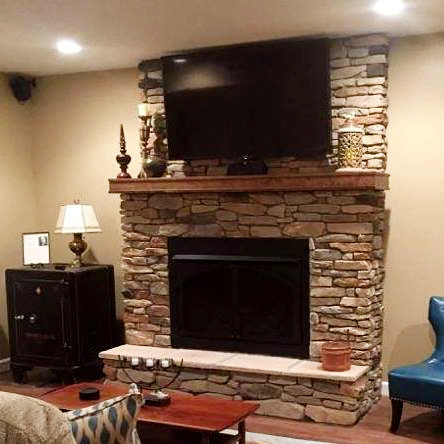 Refinished Basement Fireplace