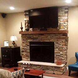 Refinished Basement Fireplace