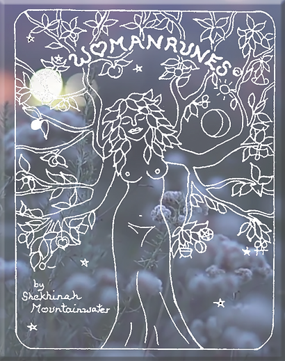Womanrunes cover in white over flowers.p