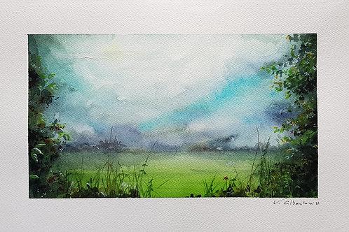 aquarelle beau paysage de campagne ciel poetique. champs de rêve peinture valerie albertosi