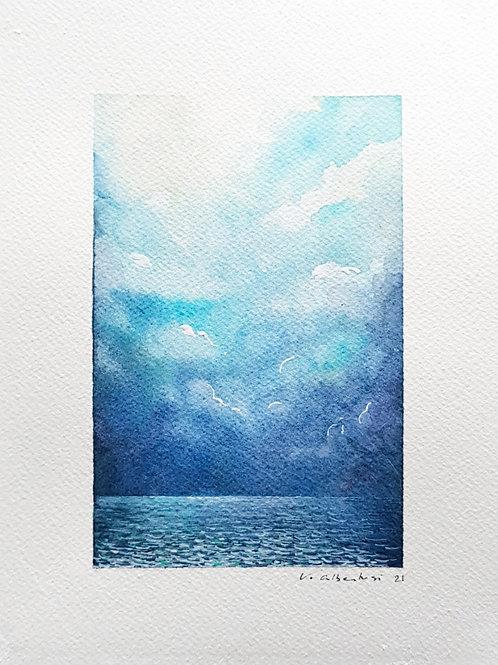 paysage mer et ocean lumièere ciel sur eau. nuages et reflets. peinture marine valerie albertosi