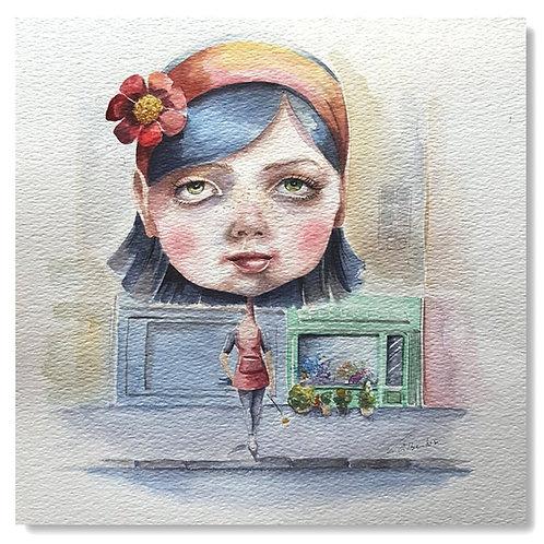 Illustration - la petite fleuriste