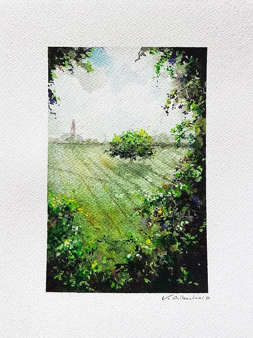campagne 191 paysage aquarelle champs village valerie albertosi