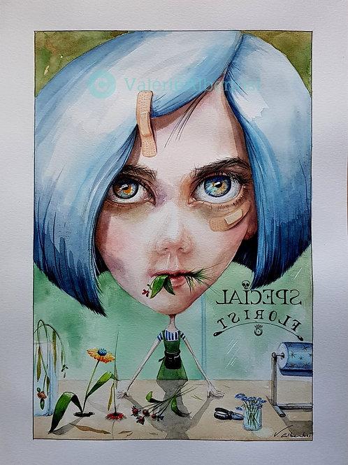 art contemporain illustration draw drawing color watercolor blue hair florist shop fleuriste stranvalérie Albertosi aquarelle