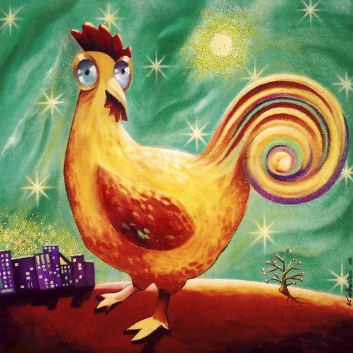 peinture tableau valerie albertosi acrylique bois coq poule lune naif
