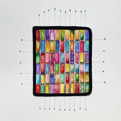 art abstrait contemporain valérie Albertosi aquarelle tissus tissage fils couleur mosaique couture qualité