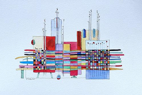 art abstrait contemporain valérie Albertosi aquarelle architecture couleur bloc ville moderne