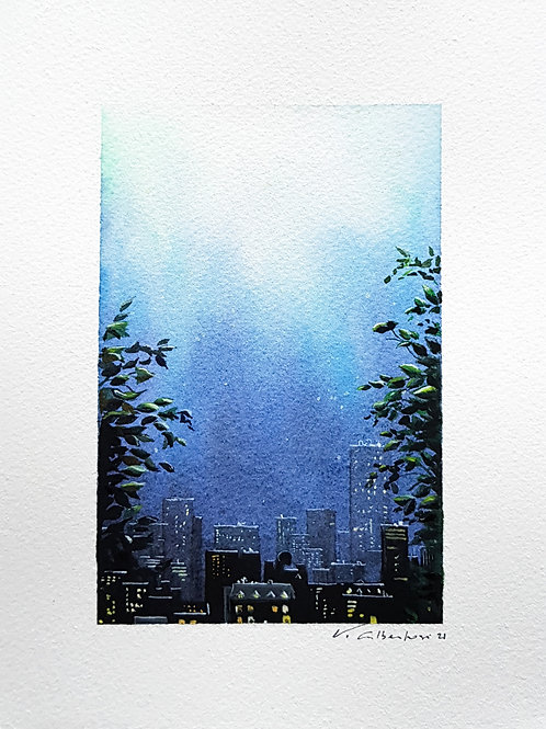 bleu paysage ville nuit vegetation lumière light night buildings landscape aquarelle watercolor valerieAlbertosi