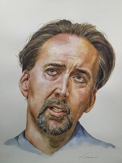 nicolas Cage portrait peinture aquarelle valerie albertosi painting