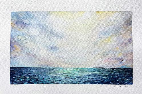 belle aquarelle mer nuages ocean belle lumiere paysage peinture marine valerie albertosi