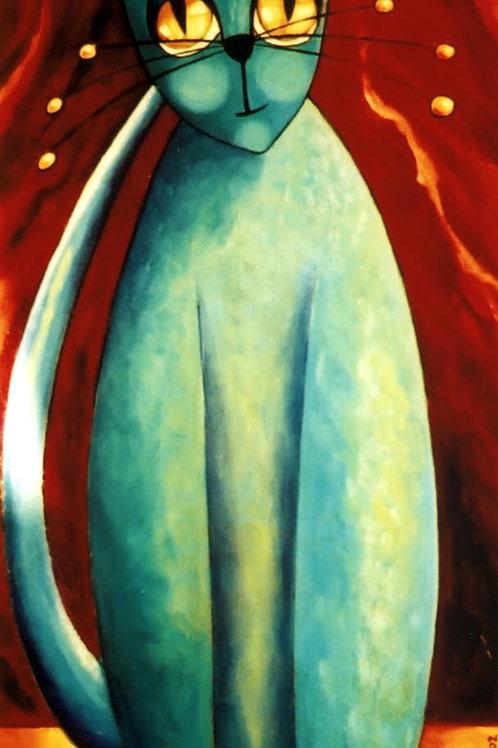 peinture tableau peinture acrylique beau chat bleu vert turquoise art naif valerie albertosi