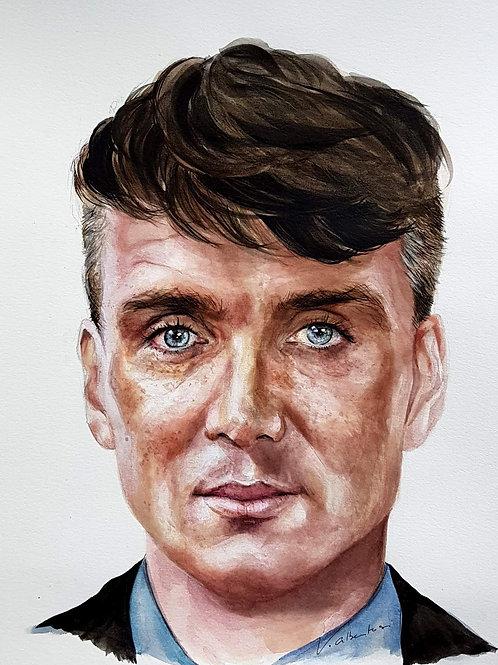 portrait cilian murphy watercolor aquarelle man actor irishman valerie albertosi