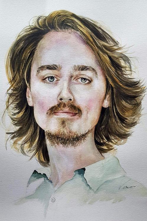 portrait jeune homme aquarelle watercolor light lumière valerie albertosi