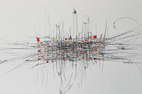 art abstrait contemporain valérie Albertosi aquarelle black and color tissus tissage fils