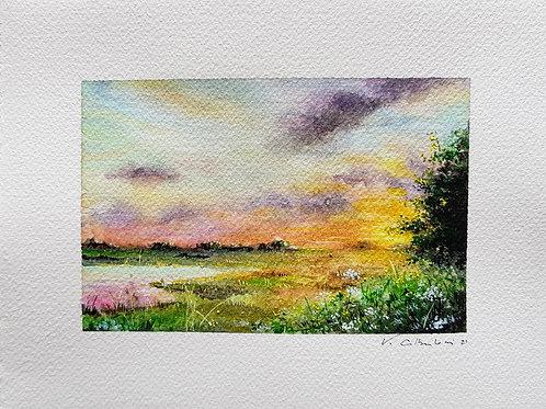 coucher de soleil sur les marais aquarelle paysage  Albertosi