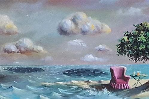 solitude valérie albertosi paysage onirique mer arbre ile nuages