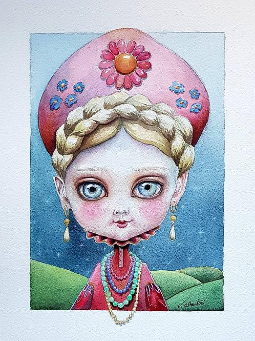 doll illustration russian russie drawing painting watercolor aquarelle valerie albertosi