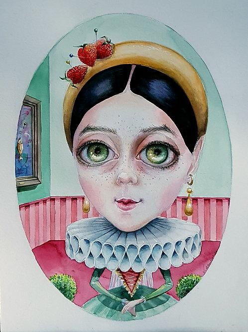 art illustration dessin rose fraises strawberry fragola strawberry  fun cute watercolor valérie Albertosi aquarelle