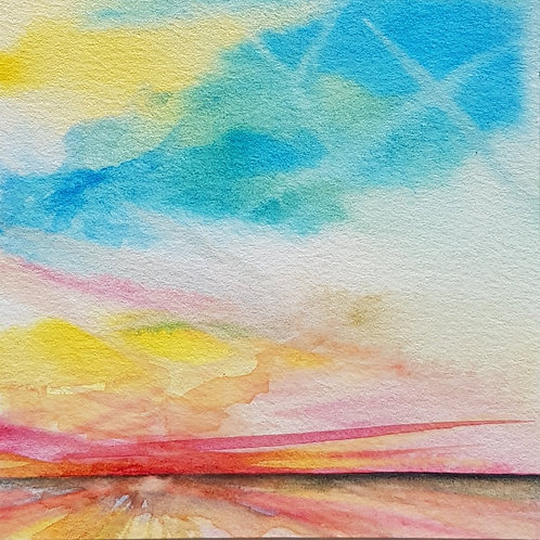 art paysage mer ciel été couleurs souvenirs soleil watercolor sun sea contemporain valérie Albertosi aquarelle