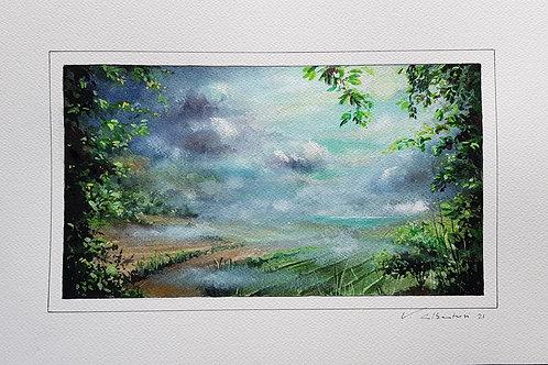 paysage onirique aquarelle rêve campagne peinture valerie albertosi