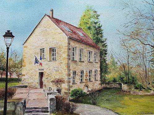 aquarelle maison en pierre mairie de Boisemont dans le val d'oise. peinture valerie albertosi
