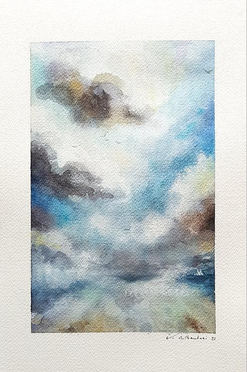 beau paysage aquarelle reflets plage et mer sous ciel d'orage. peinture valerie albertosi
