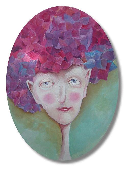 portrait naif peinture acrylique tableau femme hortensias valerie albertosi