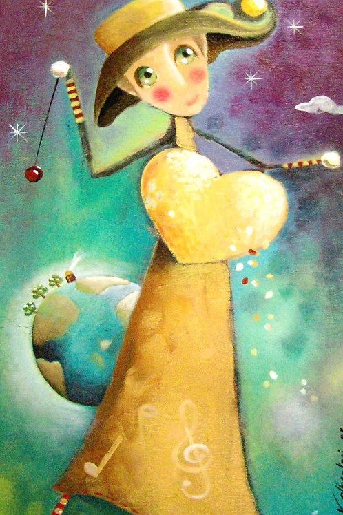 peinture tableau acrylique yo-yo univers petite fille poésie naif valerie albertosi
