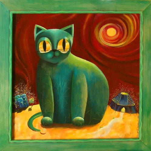 tableau chat de cirque peinture valerie albertosi illustration rêve et poesie