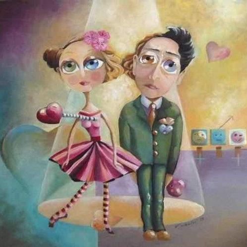 peinture tableau acrylique couple naif femme homme amour valerie albertosi