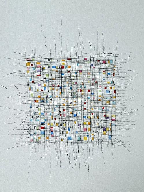 art abstrait contemporain valérie Albertosi aquarelle square modern achitecture tissage couture fils