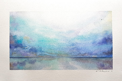 paysage plage et ocean, lumière sur mer, nuages et peinture poetique valerie albertosi