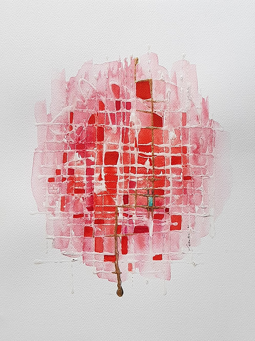 Art abstrait abstraction rose rouge valerie albertosi aquarelle