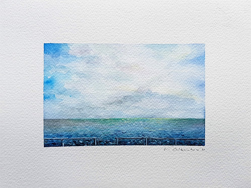 mer ocean ciel nuage aquarelle valerie albertosi watercolor landscape paysage
