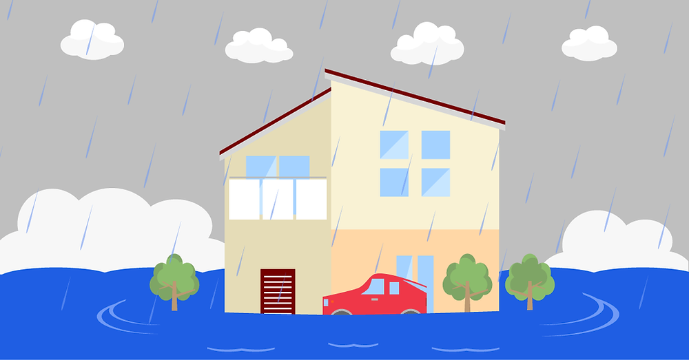 home and a car damaged by a flood