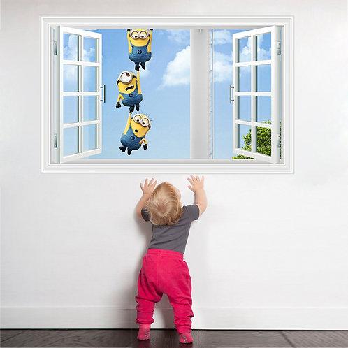 The Minions - מדבקת קיר - המיניונים מבעד לחלון מחזיקים ידיים