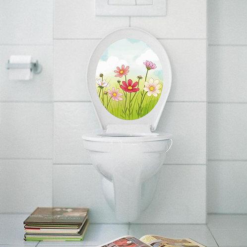 Beautiful Flowers - מדבקת קיר למושב האסלה פרחים מאויירים
