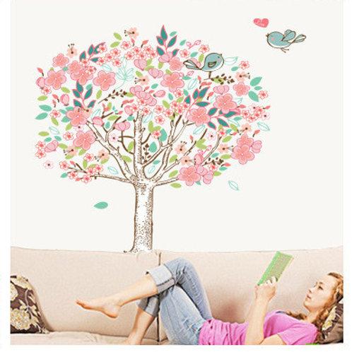 מדבקת קיר - עץ עם עלים ורודים