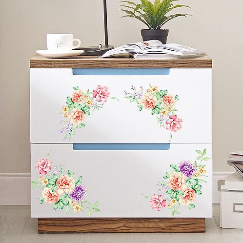 מדבקת קיר - קישוט פרחים צבעוניים