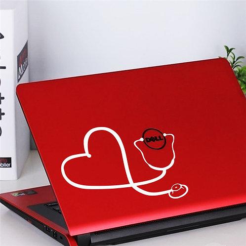 מדבקת קיר למחשב לפטופ- סטטוסקופ בצורת לב